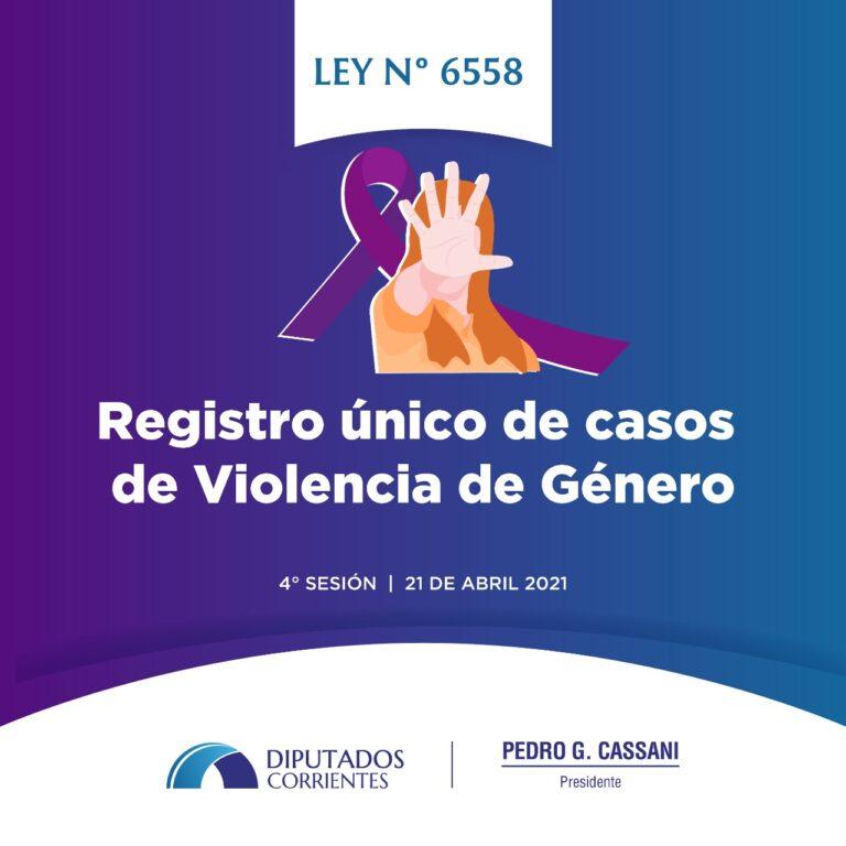 LEY 6.558: Registro Unico de Casos de Violencia de Género en la Provincia