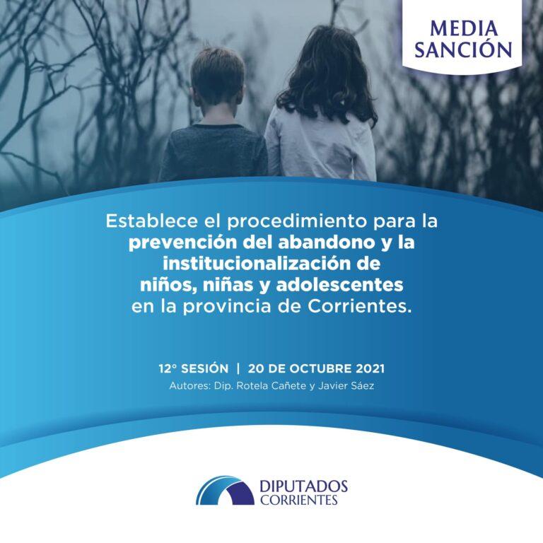 Media Sanción al Procedimiento para Prevención del Abandono e Institucionalización de Niños
